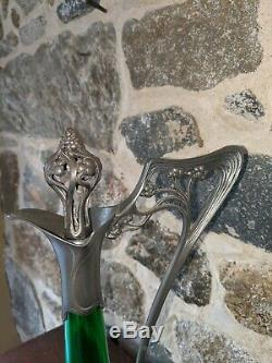 Excellent Iconic Art Nouveau WMF Pewter & Emerald Green Glass Decanter Ca 1900