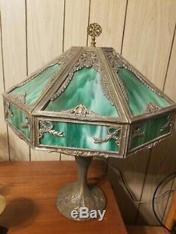 Exquisite Antique Emerald Slag Glass 6 Panel Nouveau Table Lamp EUC