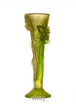 Exquisitely Detailed + Magnificent Daum Pate De Verre Yellow Green Orchid Vase