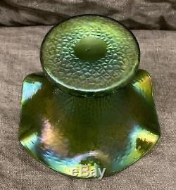 FABULOUS Antique Rindskopf 19th C. Iridescent Art Glass Sweet Pea Vase NICE