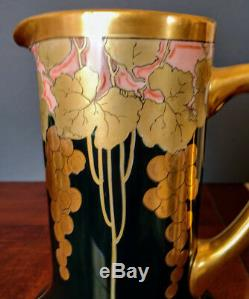FRENCH J Pouyat Hand Decorated Dark Green, Pink, Whites & Gold Pitcher 1890's