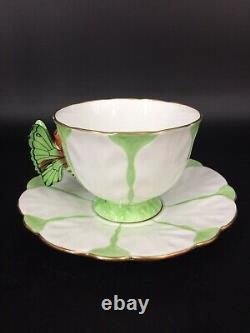 F/S English Royal antiques AYNSLEY butterfly handle flowercup&saucer plate trio