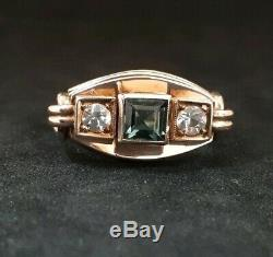Fabulous ART NOUVEAU / JUGENDSTIL Green & Clear Paste 8k Gold Ring Size R