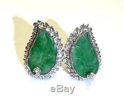Fabulous! Art Deco Green Jade and 1CT Diamond Large Palladium Earrings