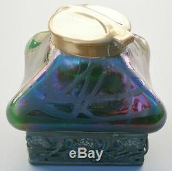 Fabulous Iridescent Glass & Metal Art Nouveau Jugendstil Kralik Loetz Inkwell