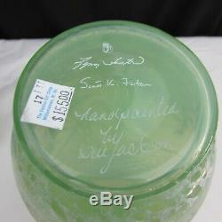 Fenton Green Opalescent Sample After the Rain Hand Painted Vase W2664