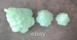 Fenton Milk Jadeite Iridescent Set of 3 Trees Large, Medium & Small MINT