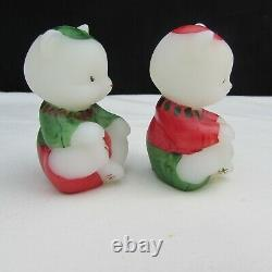 Fenton Opal Satin Red Green Hat Elves Hand Painted Mini Sitting Bear Set C2141