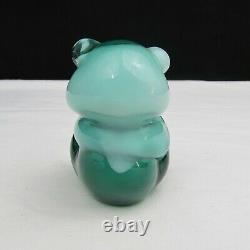 Fenton SAMPLE Spruce Green Cased over Milk Glass GSE Sitting Bear 1999 C2524