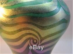 Fine 22.5 DURAND KING TUT Art Glass Lamp in Green c. 1920 American Deco