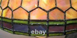 Fine Colorful Antique Stained Glass Lamp Shade Purple & Green c. 1910