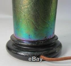 Fine Heavily Iridized LOETZ BOHEMIAN Art Glass Vase as Lamp c. 1910 antique