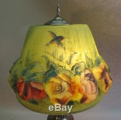 Fine Original PAIRPOINT PUFFY Art Glass Lamp with Birds & Flowers c. 1920 antique