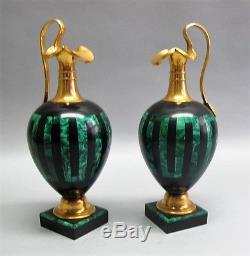 Fine Pair RUSSIAN ART NOUVEAU Gilt Bronze & Malachite Ewers c. 1905 antique