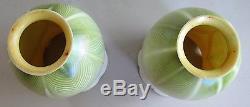 Fine Pair of QUEZAL Green Feathered Art Nouveau Glass Shades c. 1915 antique