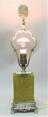 Fine STEUBEN YELLOW JADE Acid-Cut-Back Art Glass Lamp c. 1920s antique