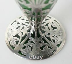 Fine Silver Overlay on green glass Vase, Elegant floral designs Alvin