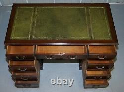 Flamed Mahogany With Green Leather Writing Surface Twin Pedestal Partner Desk