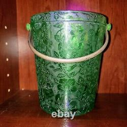 Fostoria Paradise Brocade Emerald Green Ice Bucket Bird UV Reactive Uranium