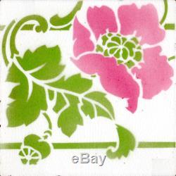 France Sarreguemines Original 256 reclaimed tiles 16 ft wall white pink & green