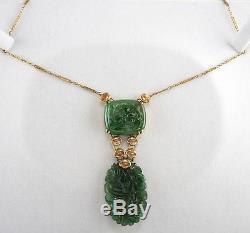 Free Eu Shipping! Art Nouveau Rich Spinach Green & Flower Antique 14kt Necklace