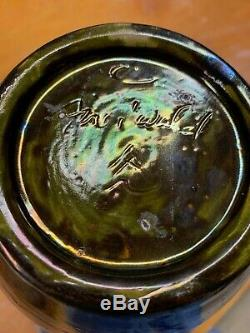 Freiwald Art Pottery Studio feelie bottle art nouveau luster lava massier 13.5