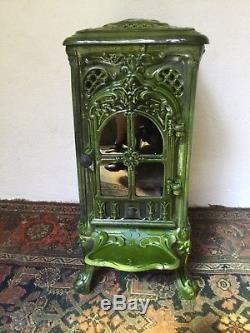 French Art Nouveau Front Loading Woodburning Stove Restored With New Firebox