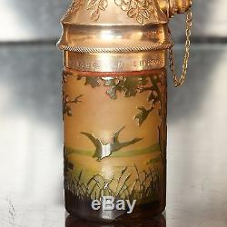 French D'Argental Cameo Glass Bottle Shaped Atomiser, circa 1900's