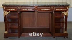 French Empire Napoleon III Style Bronze Mounted Green Marble Topped Sideboard