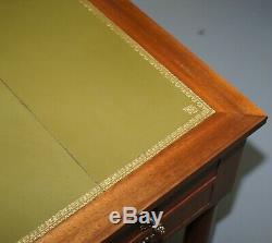 French Empire Revival Bureau De Plat Extending Desk Writing Table Green Leather