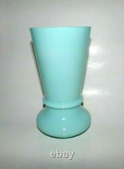 French Portieux Vallerysthal RARE, Antique Large 8 High Aqua Green Blue Vase