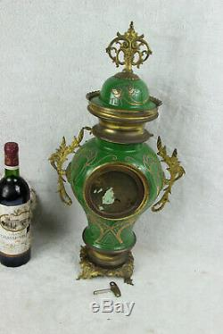 French antique Faience porcelain Green art nouveau clock