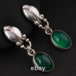 GEORG JENSEN Sterling Ear Screws # 17 w. Green Agate. Silver Moonlight