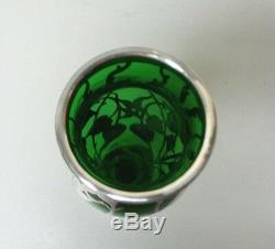 GORGEOUS ART NOUVEAU SILVER OVERLAY on GREEN ART GLASS VASE, 10 HIGH