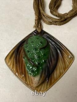 Gabriel Argy Rousseau Pate De Verre Glass Pendant Pine Cone Art Deco Nouveau