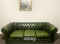 Genuine Chesterfield 3 Seater Sofa Green Leather Excellent Condition