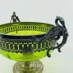 German Antique Art Nouveau WMF Lime Green Glass Silver Plated Swan Handled Dish