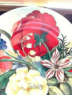 Gien France Volupte 8.5 Round Cake 6 Plates Floral Bouquet & Green Presentation