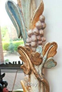 Gold & Green Carved Grape Vine Flourish Decorative Wall Mirror