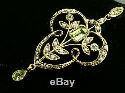 Gorgeous ART NOUVEAU 9ct Gold Natural Peridot & Pearl Vintage style Pendant