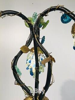 Gorgeous ART NOUVEAU LAMP 3 CZECH Glass GRAPE CLUSTER SHADES Antique Works