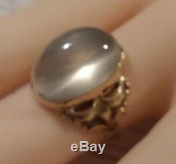 Gorgeous yellow and green 10k art nouveau ring with large moonstone