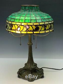 Gorham Antique Signed Stained Glass Lamp Bronze Art Nouveau Base Early 20th C