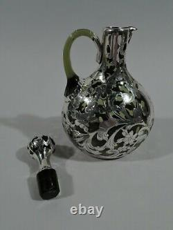 Gorham Decanter S1490 Art Nouveau American Green Glass & Silver Overlay