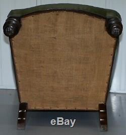 Gothic Revival Pugin Style Victorian Chesterfield Library Green Leather Armchair