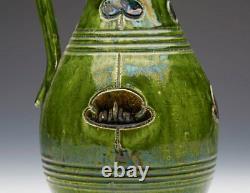 Green Glazed Art Pottery Ewer Probably Belgian C. 1890