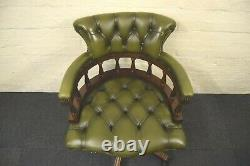 Green Leather Captains Swivel Desk Chair
