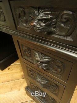 Green Man Carved Gothic Oak Pedestal Desk with Ebonized Finish and Leather Top