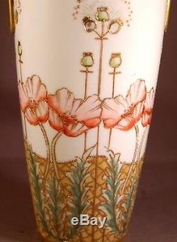 Green Mark Hand Painted Nippon 10 Vase withHeavy Gilt Work & Poppies! WOW