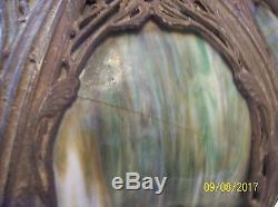 Green Slag Ornate Antique Hanging Dome 8 Panel Heavy Shade Brady & Hubbard Era